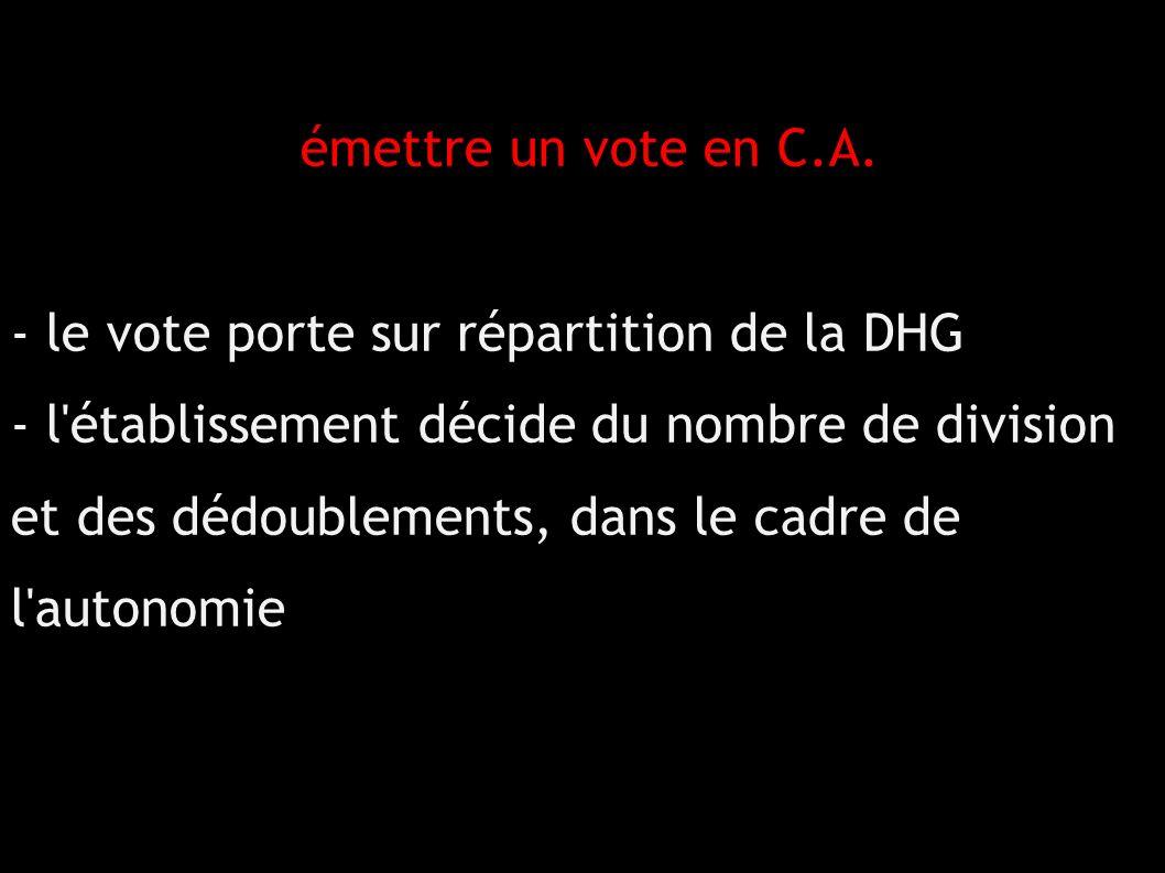 émettre un vote en C.A.