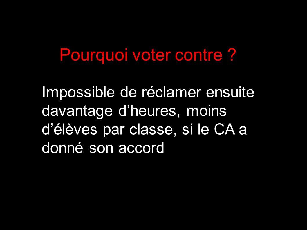 Pourquoi voter contre .