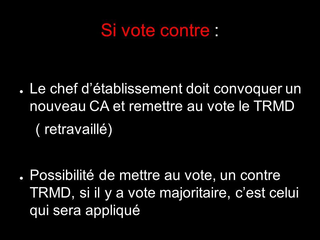 Si vote contre : Le chef détablissement doit convoquer un nouveau CA et remettre au vote le TRMD ( retravaillé) Possibilité de mettre au vote, un contre TRMD, si il y a vote majoritaire, cest celui qui sera appliqué