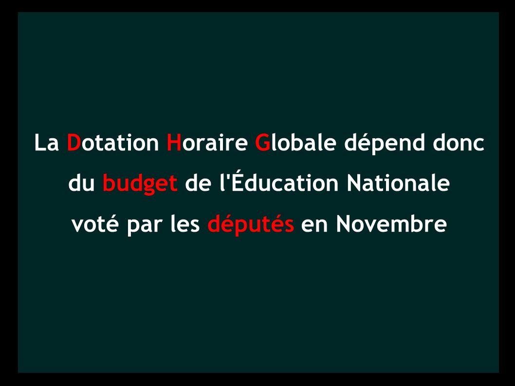 La Dotation Horaire Globale dépend donc du budget de l Éducation Nationale voté par les députés en Novembre