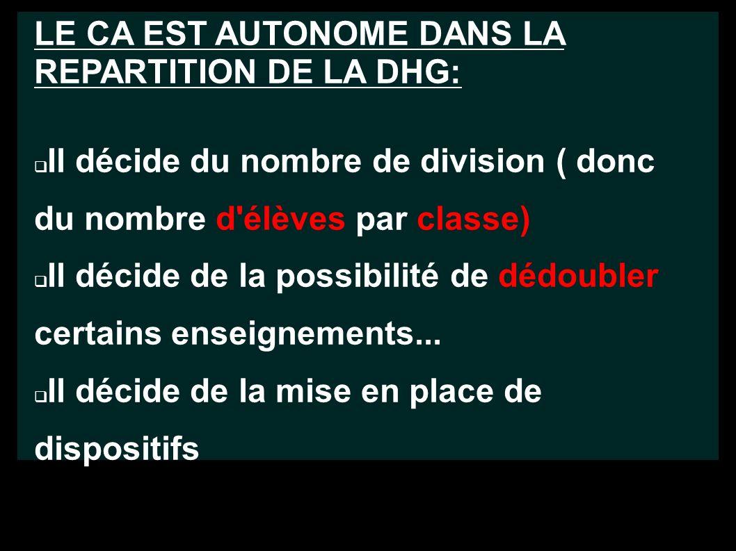 LE CA EST AUTONOME DANS LA REPARTITION DE LA DHG: Il décide du nombre de division ( donc du nombre d élèves par classe) Il décide de la possibilité de dédoubler certains enseignements...