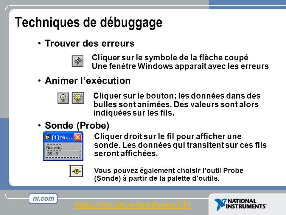 Techniques de débuggage Trouver des erreurs Animer lexécution Sonde (Probe) Cliquer sur le symbole de la flèche coupé Une fenêtre Windows apparaît avec les erreurs Cliquer sur le bouton; les données dans des bulles sont animées.
