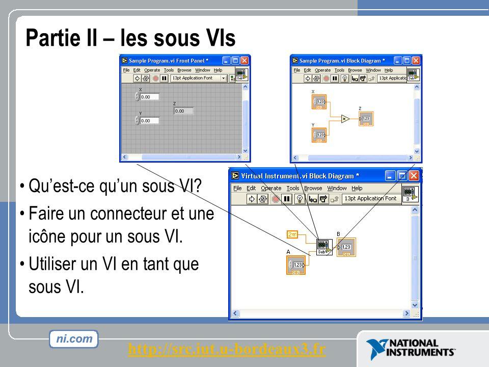Partie II – les sous VIs Quest-ce quun sous VI.Faire un connecteur et une icône pour un sous VI.