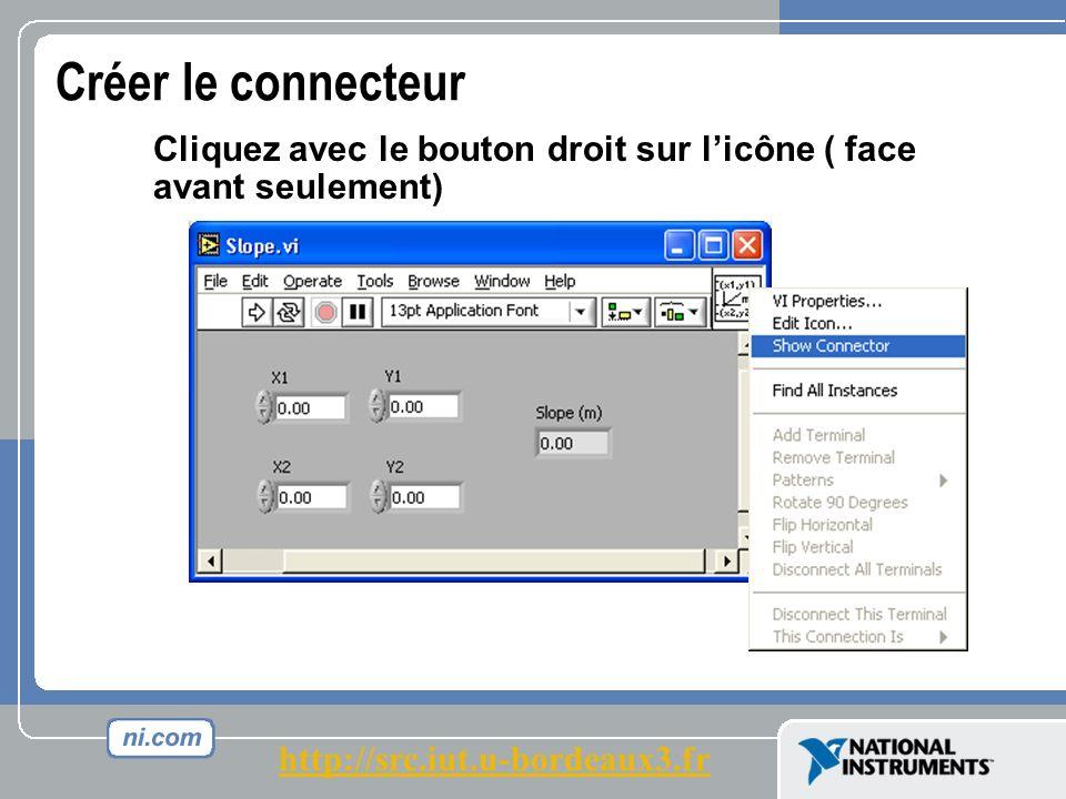 Créer le connecteur Cliquez avec le bouton droit sur licône ( face avant seulement) http://src.iut.u-bordeaux3.fr