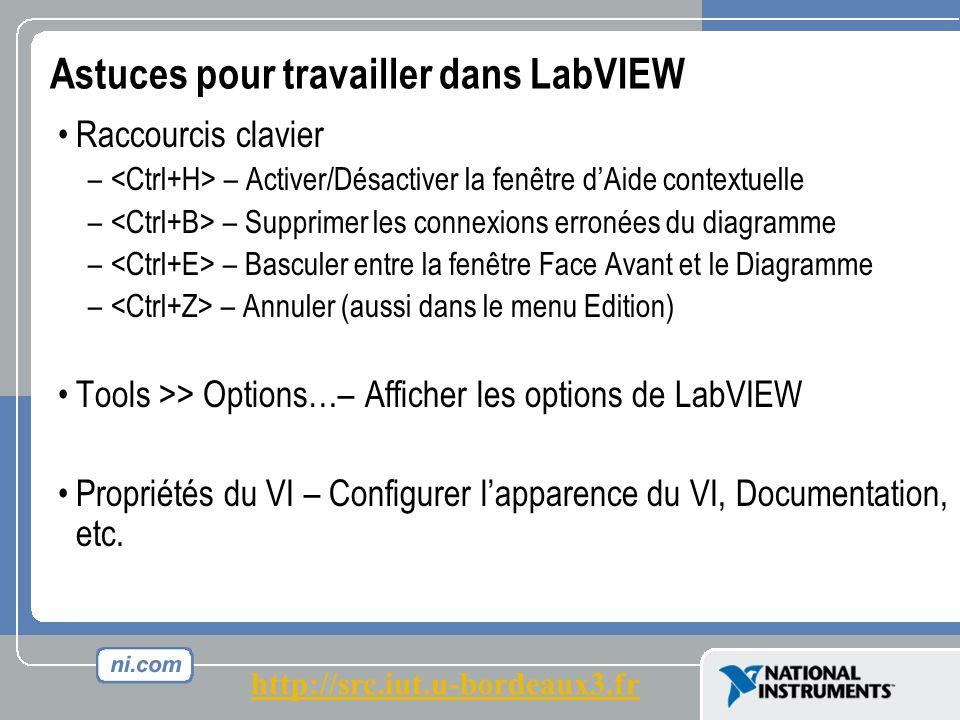Astuces pour travailler dans LabVIEW Raccourcis clavier – – Activer/Désactiver la fenêtre dAide contextuelle – – Supprimer les connexions erronées du diagramme – – Basculer entre la fenêtre Face Avant et le Diagramme – – Annuler (aussi dans le menu Edition) Tools >> Options…– Afficher les options de LabVIEW Propriétés du VI – Configurer lapparence du VI, Documentation, etc.