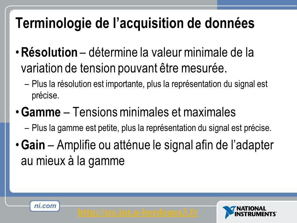 Terminologie de lacquisition de données Résolution – détermine la valeur minimale de la variation de tension pouvant être mesurée.