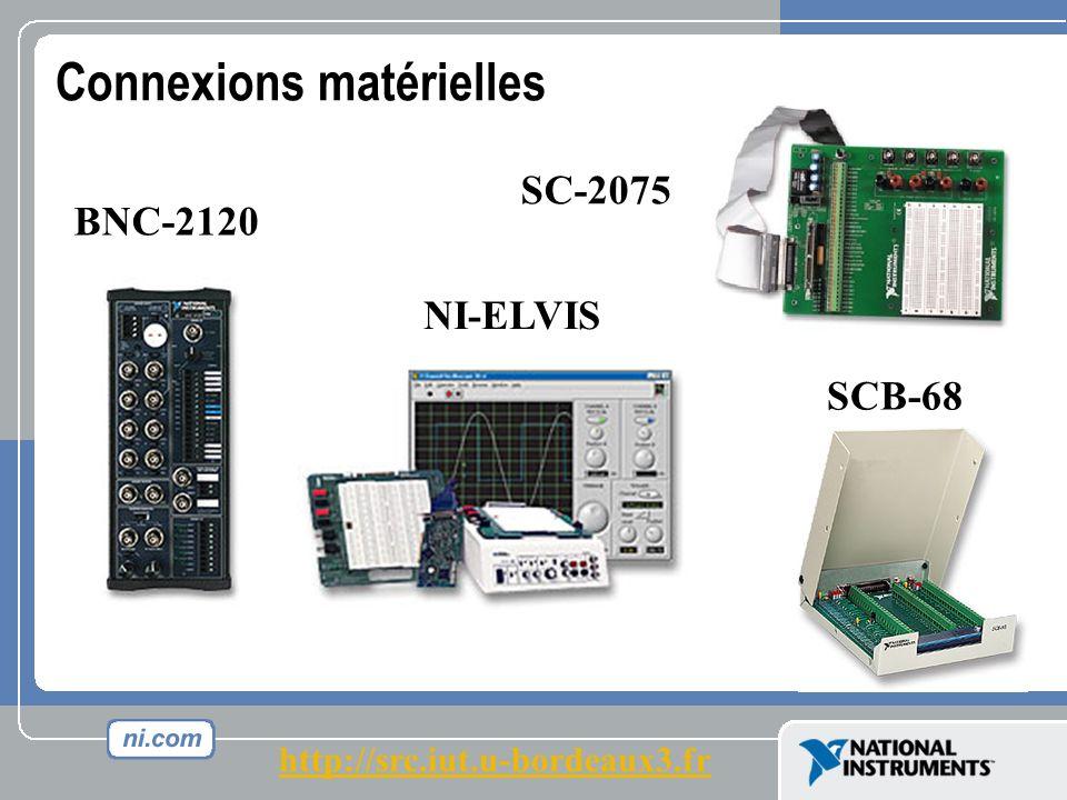 Connexions matérielles BNC-2120 SCB-68 NI-ELVIS SC-2075 http://src.iut.u-bordeaux3.fr