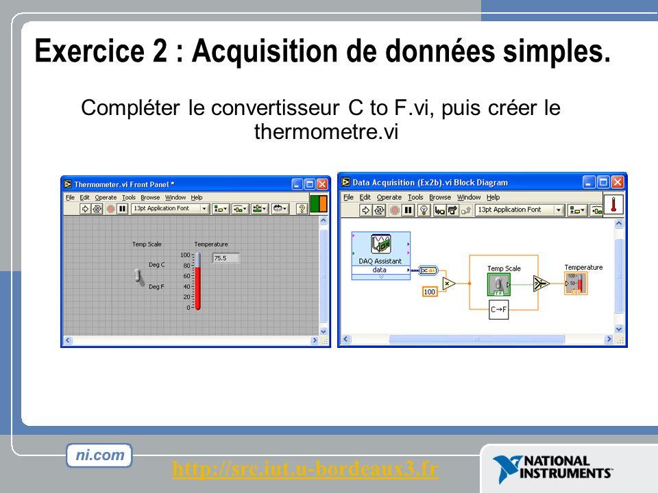Exercice 2 : Acquisition de données simples.