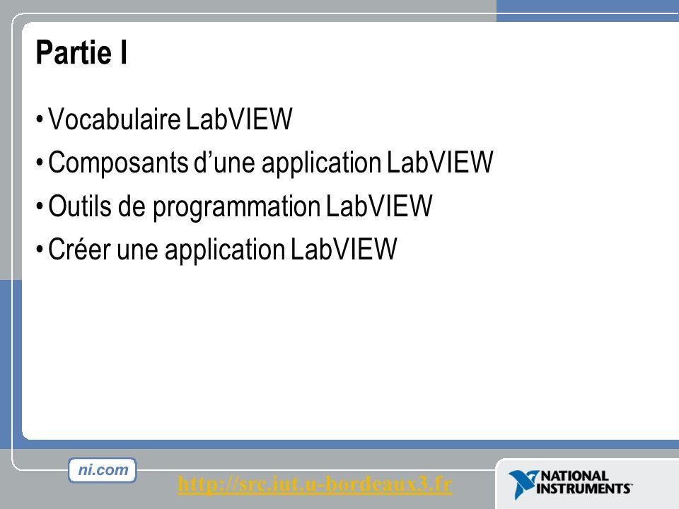 Partie I Vocabulaire LabVIEW Composants dune application LabVIEW Outils de programmation LabVIEW Créer une application LabVIEW http://src.iut.u-bordeaux3.fr
