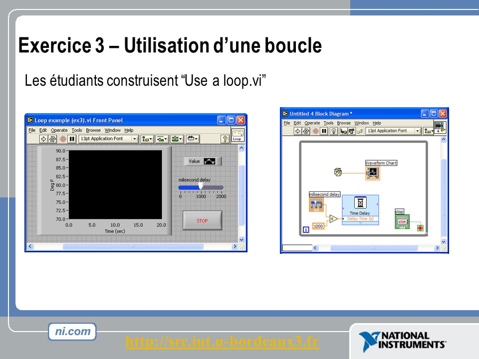 Exercice 3 – Utilisation dune boucle Les étudiants construisent Use a loop.vi http://src.iut.u-bordeaux3.fr
