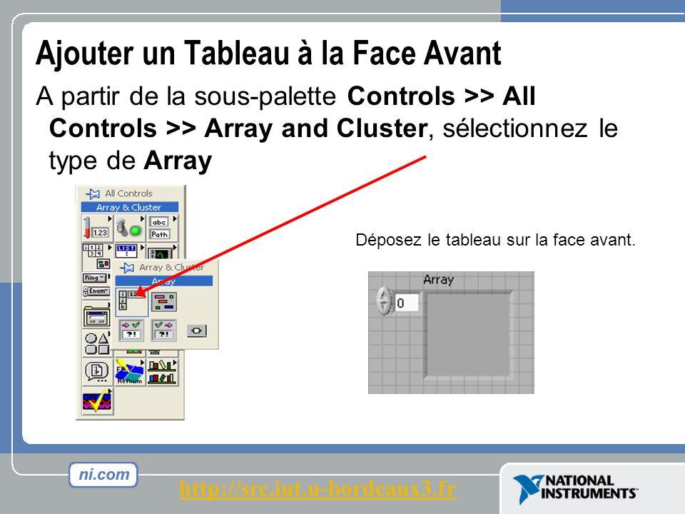 Ajouter un Tableau à la Face Avant A partir de la sous-palette Controls >> All Controls >> Array and Cluster, sélectionnez le type de Array Déposez le tableau sur la face avant.