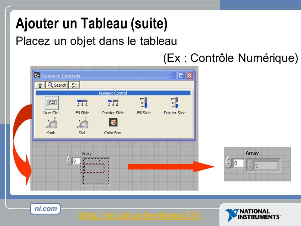 Ajouter un Tableau (suite) Placez un objet dans le tableau (Ex : Contrôle Numérique) http://src.iut.u-bordeaux3.fr