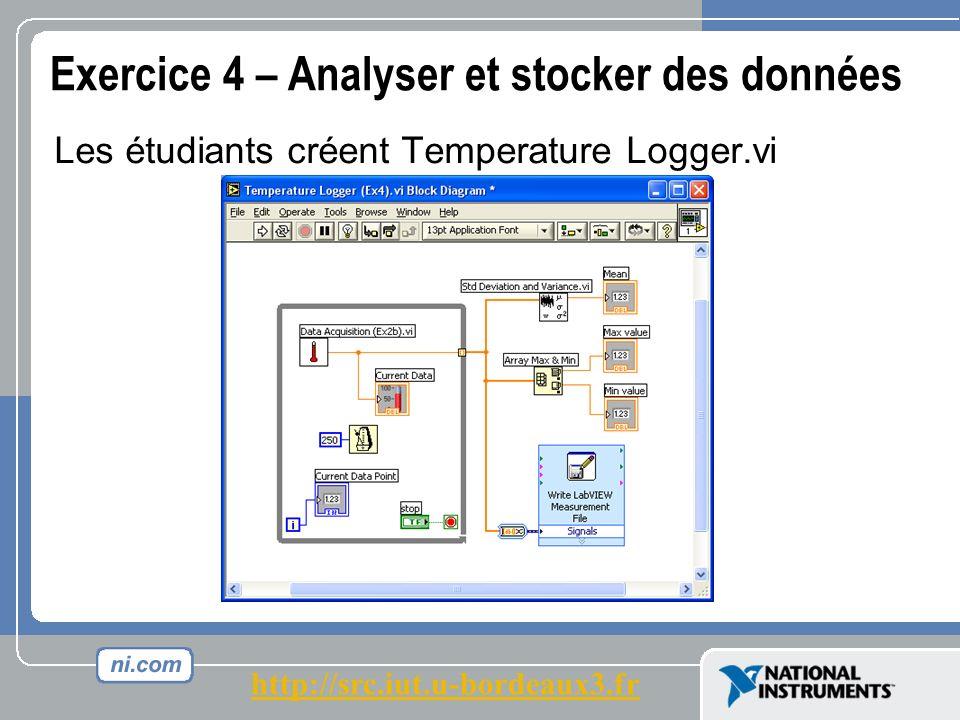 Exercice 4 – Analyser et stocker des données Les étudiants créent Temperature Logger.vi http://src.iut.u-bordeaux3.fr