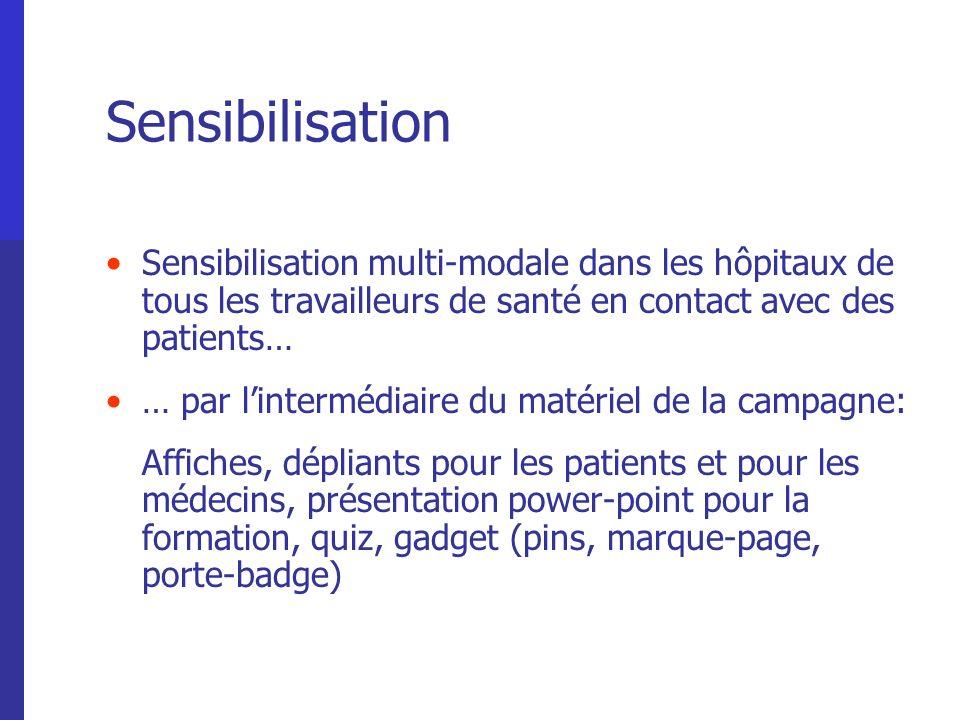 Sensibilisation Sensibilisation multi-modale dans les hôpitaux de tous les travailleurs de santé en contact avec des patients… … par lintermédiaire du