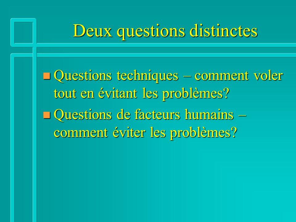 Deux questions distinctes n Questions techniques – comment voler tout en évitant les problèmes? n Questions de facteurs humains – comment éviter les p