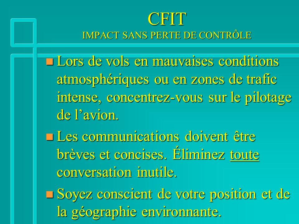 CFIT IMPACT SANS PERTE DE CONTRÔLE n Lors de vols en mauvaises conditions atmosphériques ou en zones de trafic intense, concentrez-vous sur le pilotage de lavion.