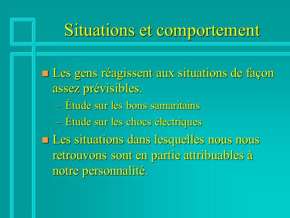 Situations et comportement n Les gens réagissent aux situations de façon assez prévisibles.