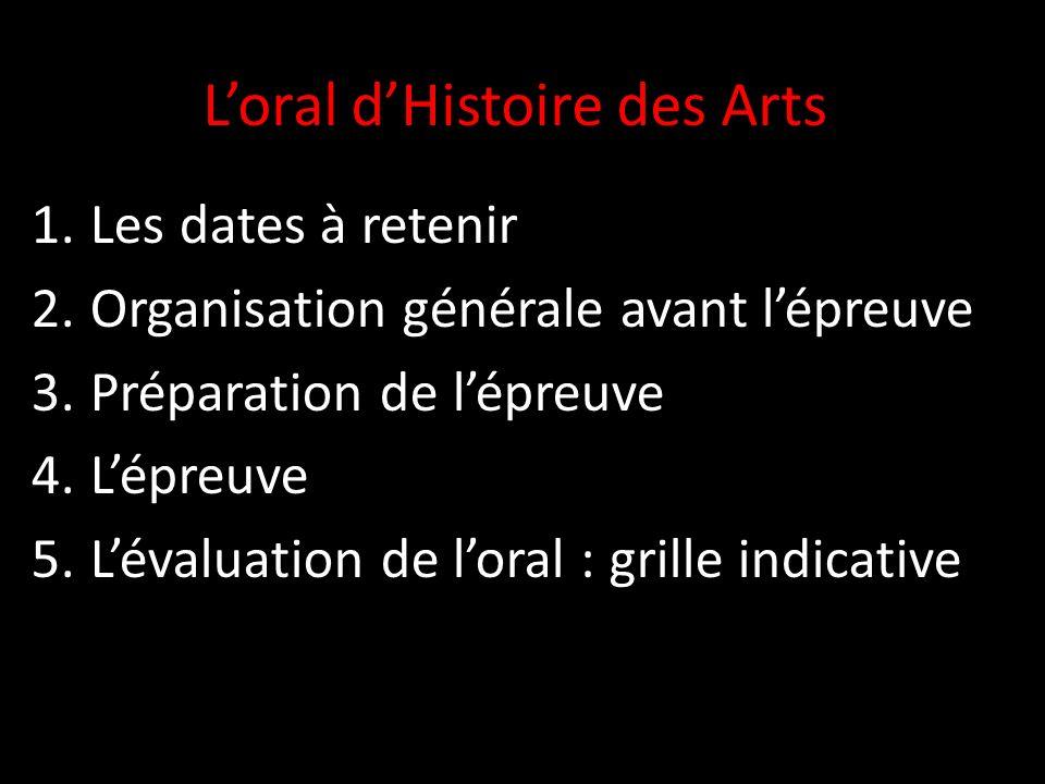 Loral dHistoire des Arts 1.Les dates à retenir 2.Organisation générale avant lépreuve 3.Préparation de lépreuve 4.Lépreuve 5.Lévaluation de loral : grille indicative