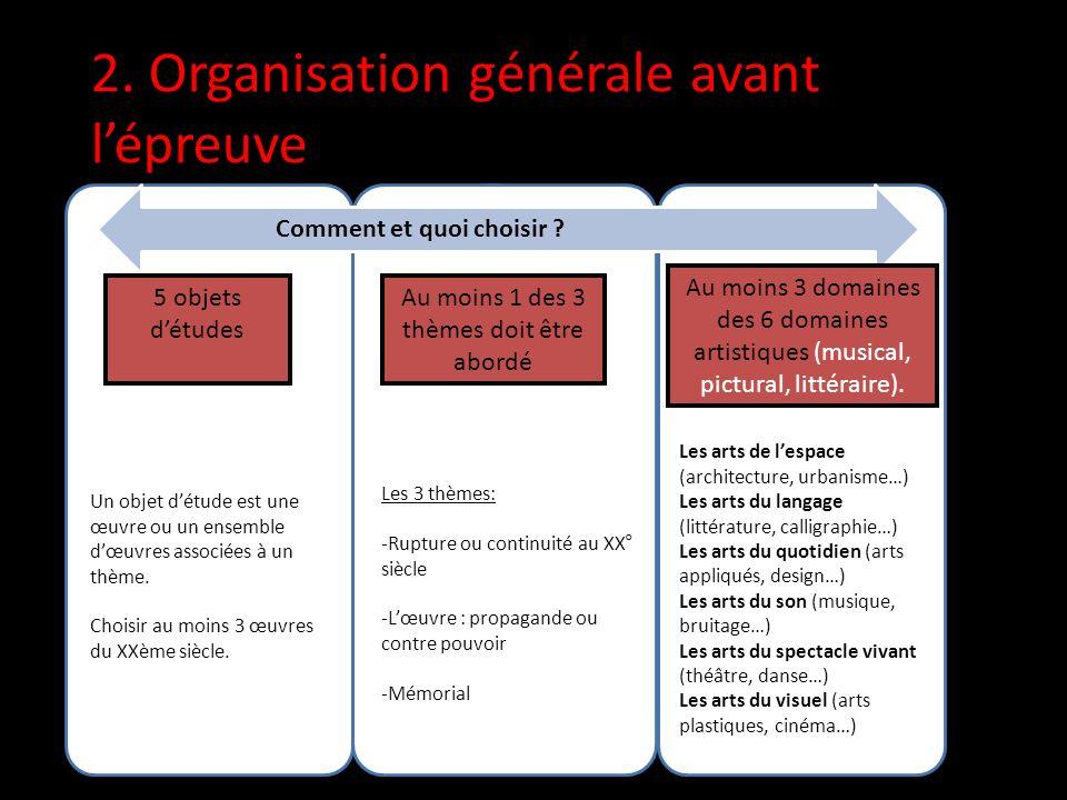 2. Organisation générale avant lépreuve Comment et quoi choisir .