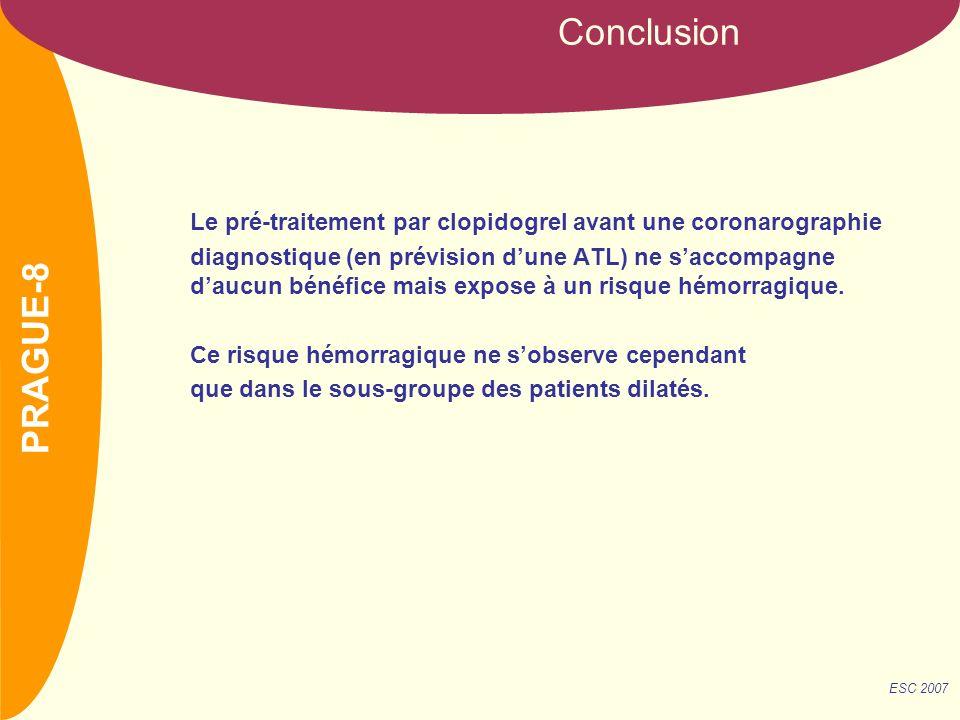 NOM Le pré-traitement par clopidogrel avant une coronarographie diagnostique (en prévision dune ATL) ne saccompagne daucun bénéfice mais expose à un risque hémorragique.