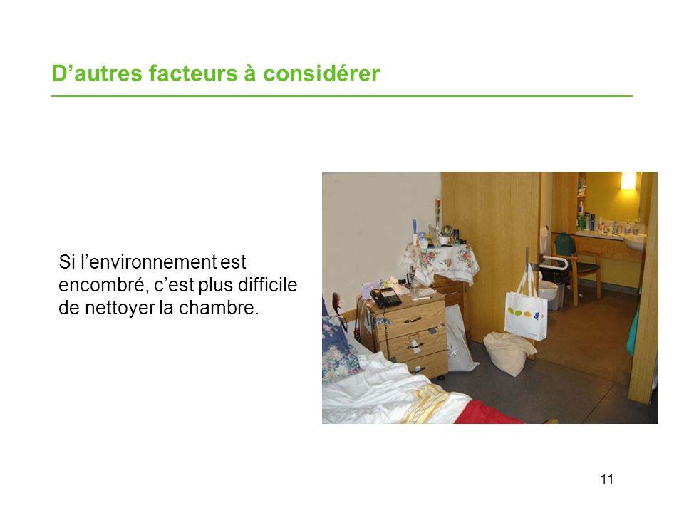 11 Dautres facteurs à considérer Si lenvironnement est encombré, cest plus difficile de nettoyer la chambre.