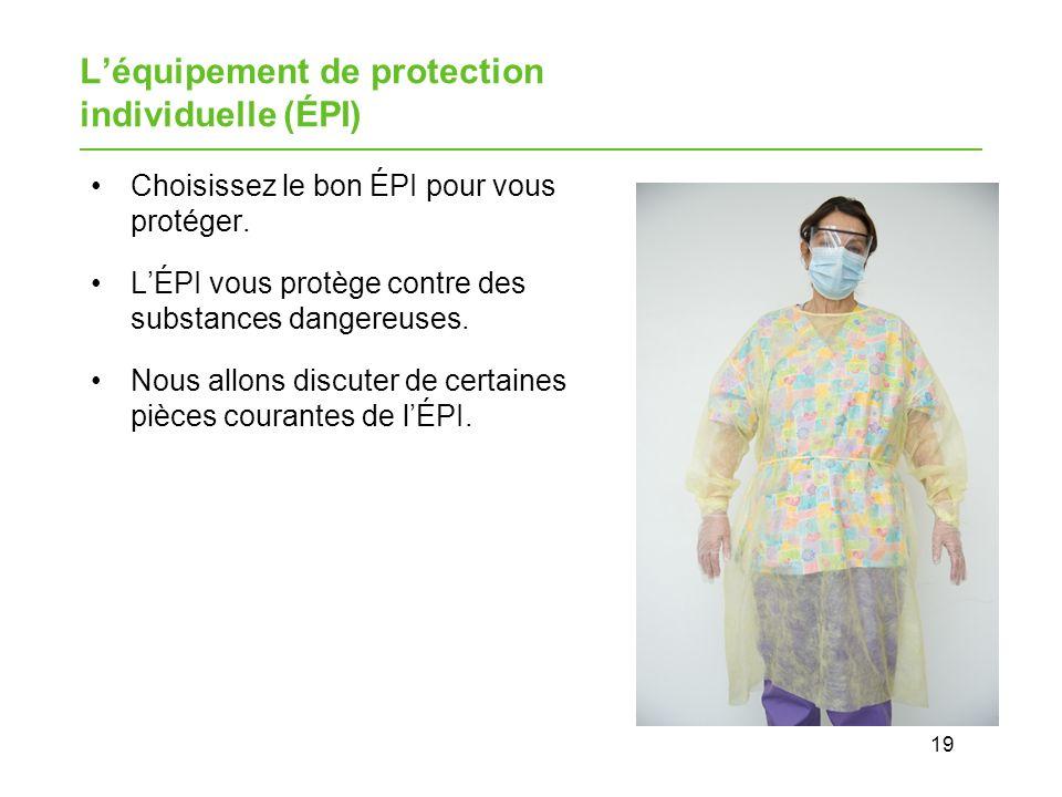 19 Léquipement de protection individuelle (ÉPI) Choisissez le bon ÉPI pour vous protéger.