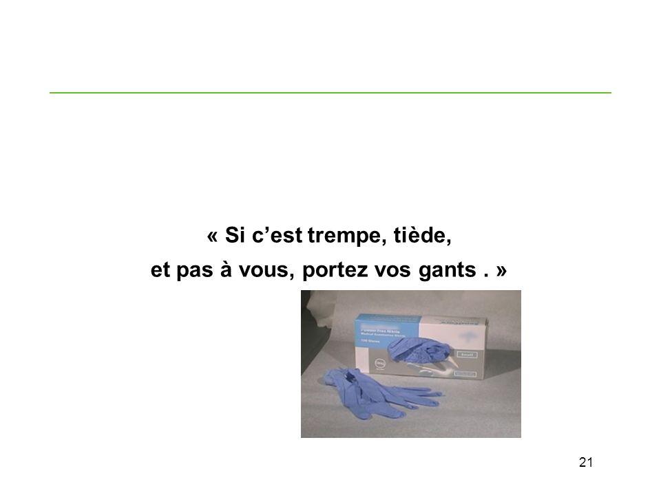 21 « Si cest trempe, tiède, et pas à vous, portez vos gants. »