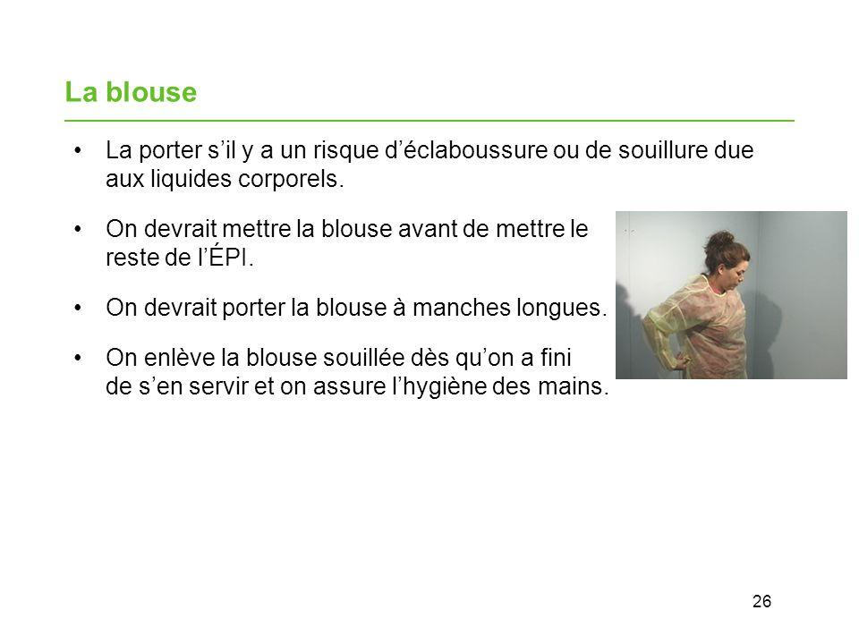 26 La blouse La porter sil y a un risque déclaboussure ou de souillure due aux liquides corporels.