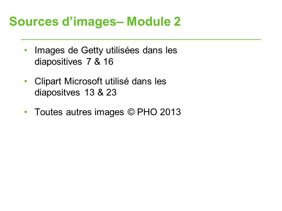 Sources dimages– Module 2 Images de Getty utilisées dans les diapositives 7 & 16 Clipart Microsoft utilisé dans les diapositves 13 & 23 Toutes autres images © PHO 2013