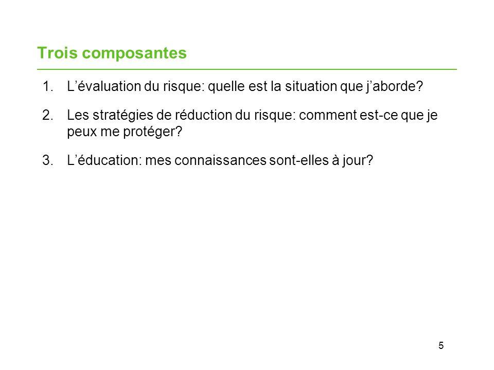 5 Trois composantes 1.Lévaluation du risque: quelle est la situation que jaborde.