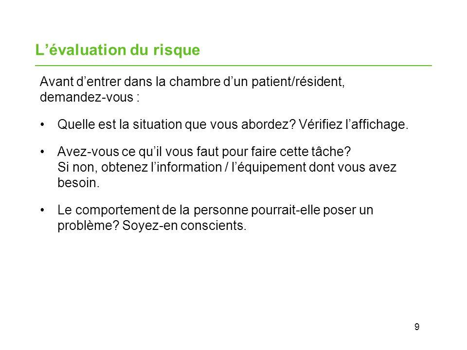 9 Lévaluation du risque Avant dentrer dans la chambre dun patient/résident, demandez-vous : Quelle est la situation que vous abordez.
