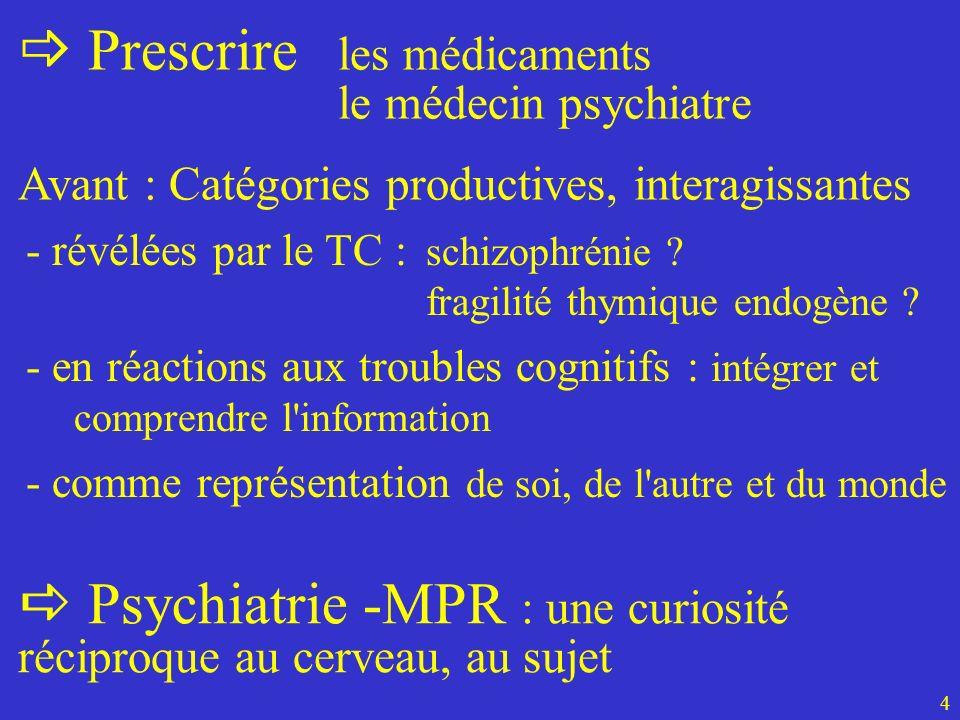 Avant : Catégories productives, interagissantes 4 Prescrire les médicaments le médecin psychiatre - révélées par le TC : schizophrénie ? fragilité thy