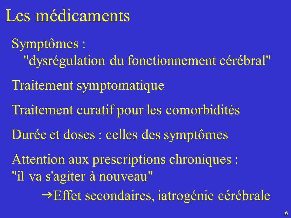 Les médicaments Traitement curatif pour les comorbidités Durée et doses : celles des symptômes Attention aux prescriptions chroniques :