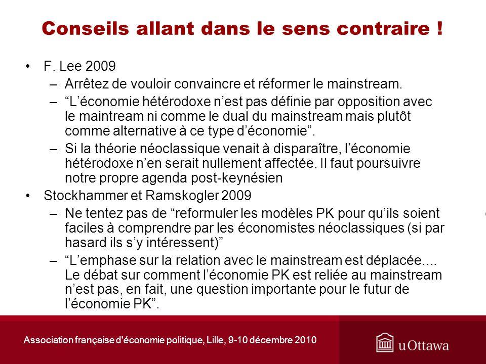 Association française d'économie politique, Lille, 9-10 décembre 2010 Conseils allant dans le sens contraire ! F. Lee 2009 –Arrêtez de vouloir convain