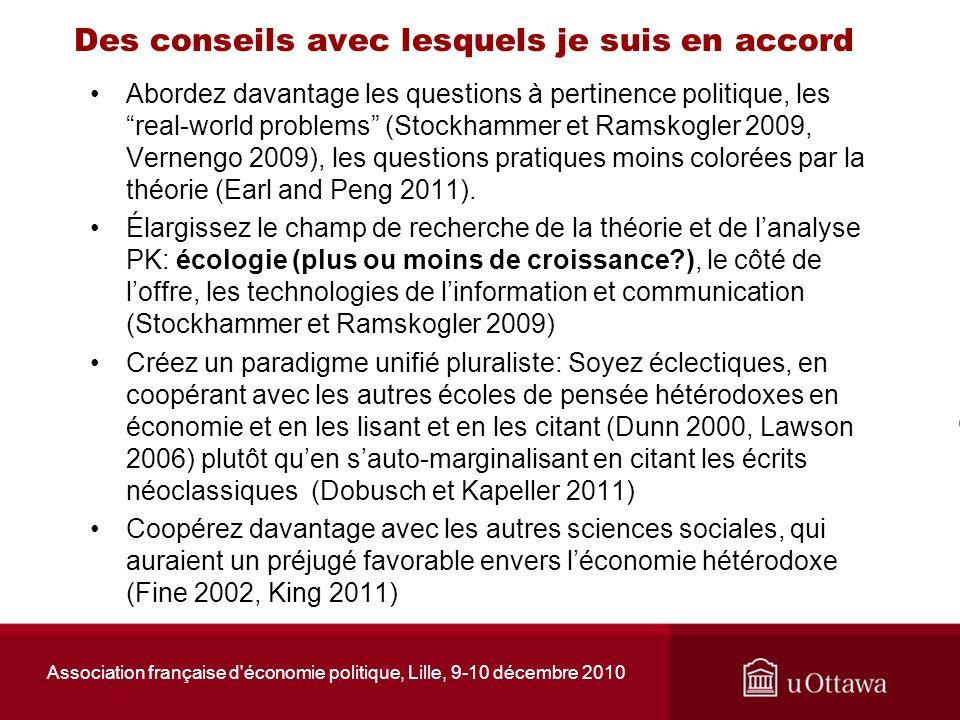 Association française d'économie politique, Lille, 9-10 décembre 2010 Des conseils avec lesquels je suis en accord Abordez davantage les questions à p