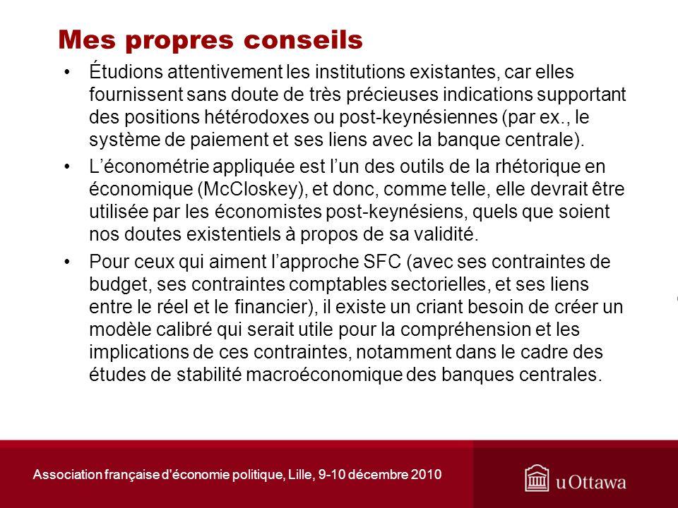 Association française d'économie politique, Lille, 9-10 décembre 2010 Mes propres conseils Étudions attentivement les institutions existantes, car ell