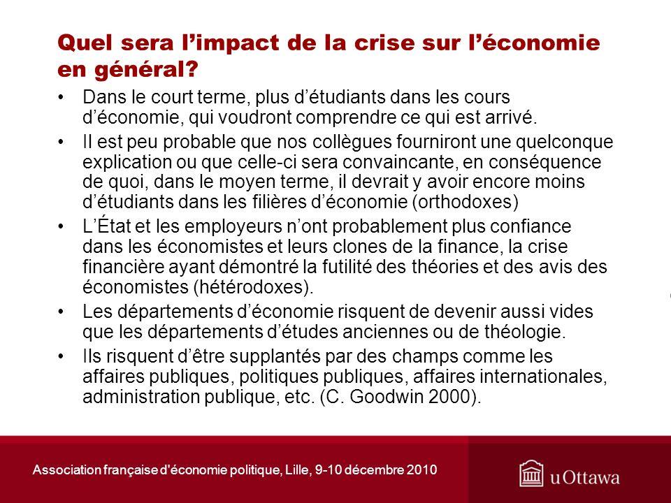 Association française d'économie politique, Lille, 9-10 décembre 2010 Quel sera limpact de la crise sur léconomie en général? Dans le court terme, plu