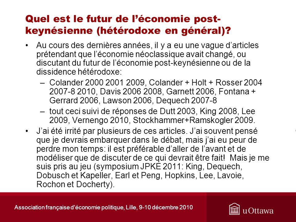 Association française d'économie politique, Lille, 9-10 décembre 2010 Quel est le futur de léconomie post- keynésienne (hétérodoxe en général)? Au cou