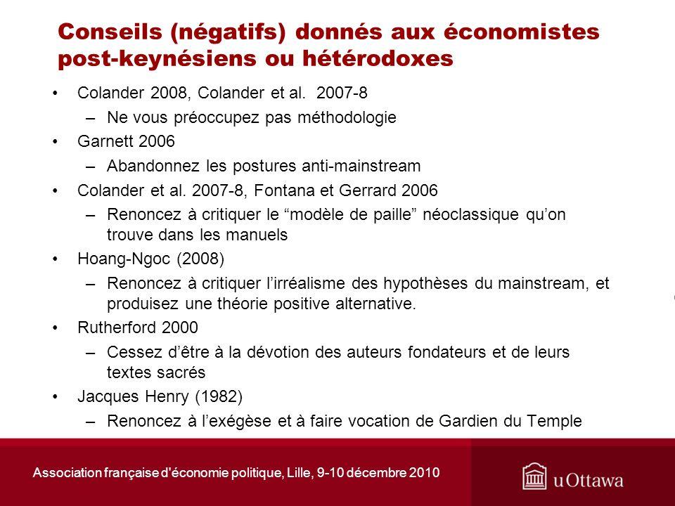Association française d'économie politique, Lille, 9-10 décembre 2010 Conseils (négatifs) donnés aux économistes post-keynésiens ou hétérodoxes Coland
