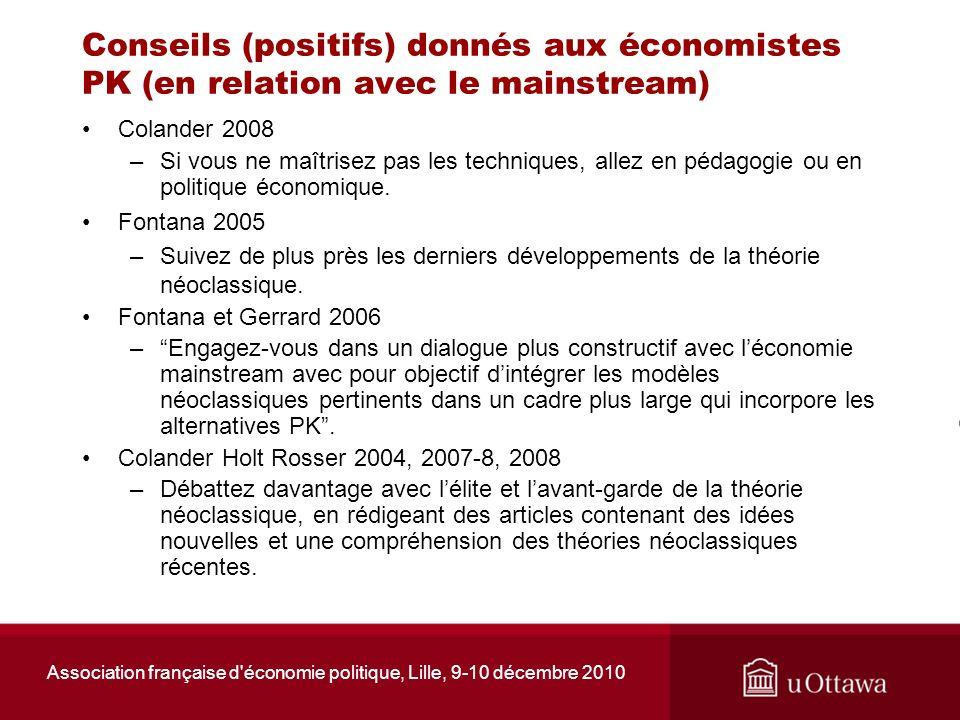 Association française d'économie politique, Lille, 9-10 décembre 2010 Conseils (positifs) donnés aux économistes PK (en relation avec le mainstream) C