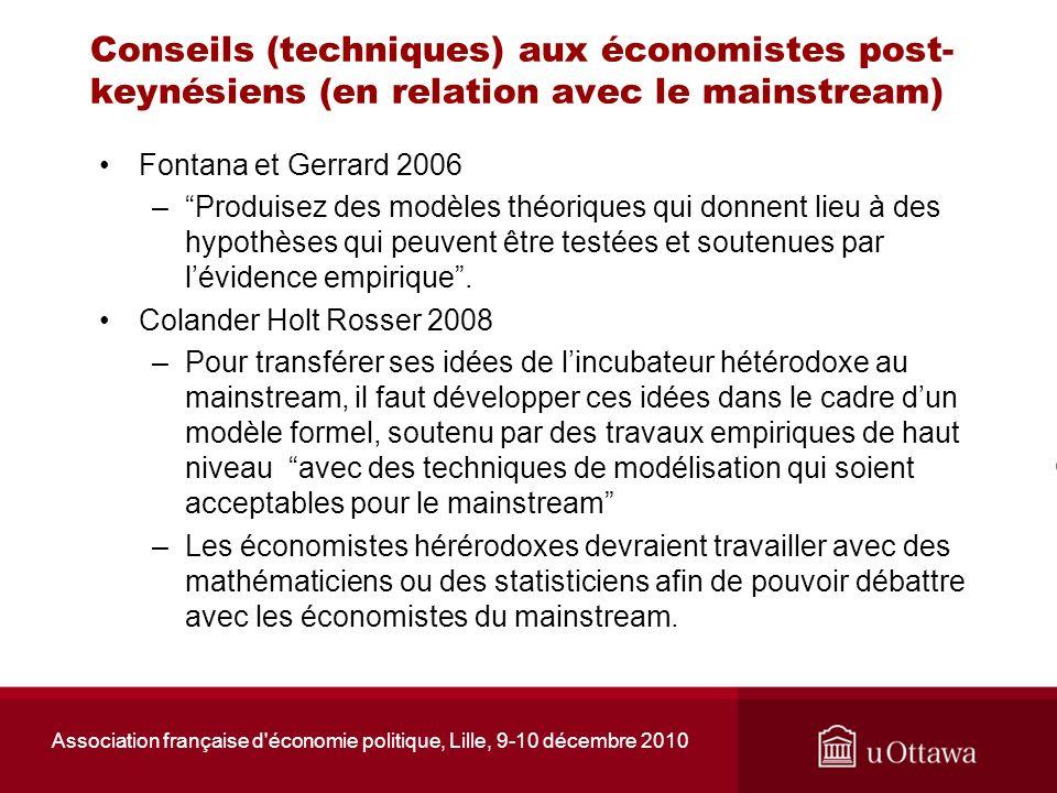 Association française d'économie politique, Lille, 9-10 décembre 2010 Conseils (techniques) aux économistes post- keynésiens (en relation avec le main