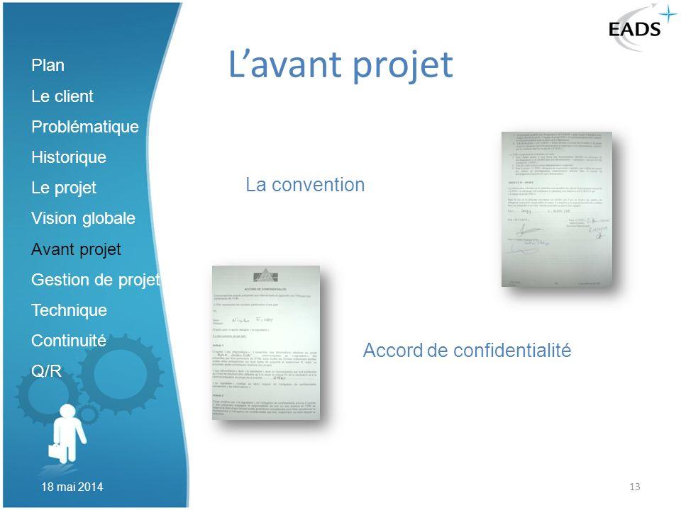 13 Lavant projet La convention Accord de confidentialité Plan Le client Problématique Historique Le projet Vision globale Avant projet Gestion de proj