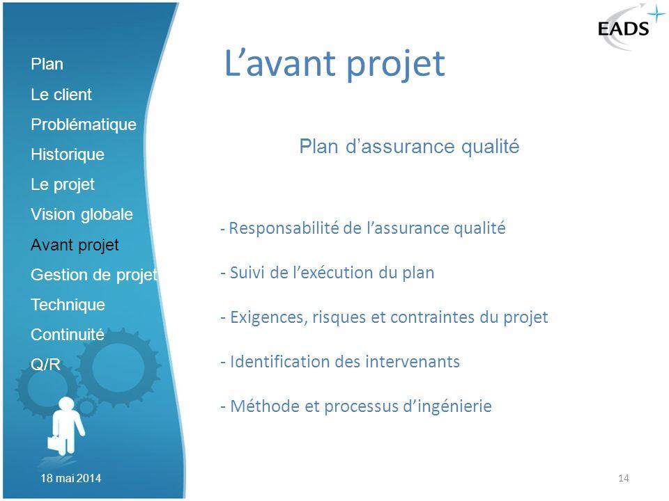 14 Lavant projet Plan dassurance qualité Plan Le client Problématique Historique Le projet Vision globale Avant projet Gestion de projet Technique Con