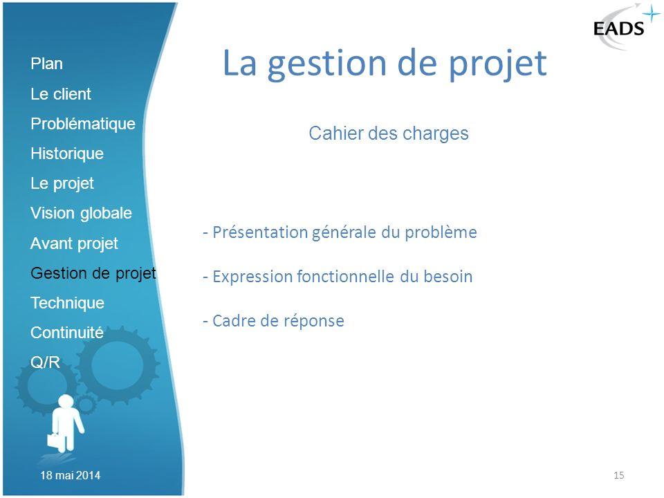 15 La gestion de projet Cahier des charges Plan Le client Problématique Historique Le projet Vision globale Avant projet Gestion de projet Technique C