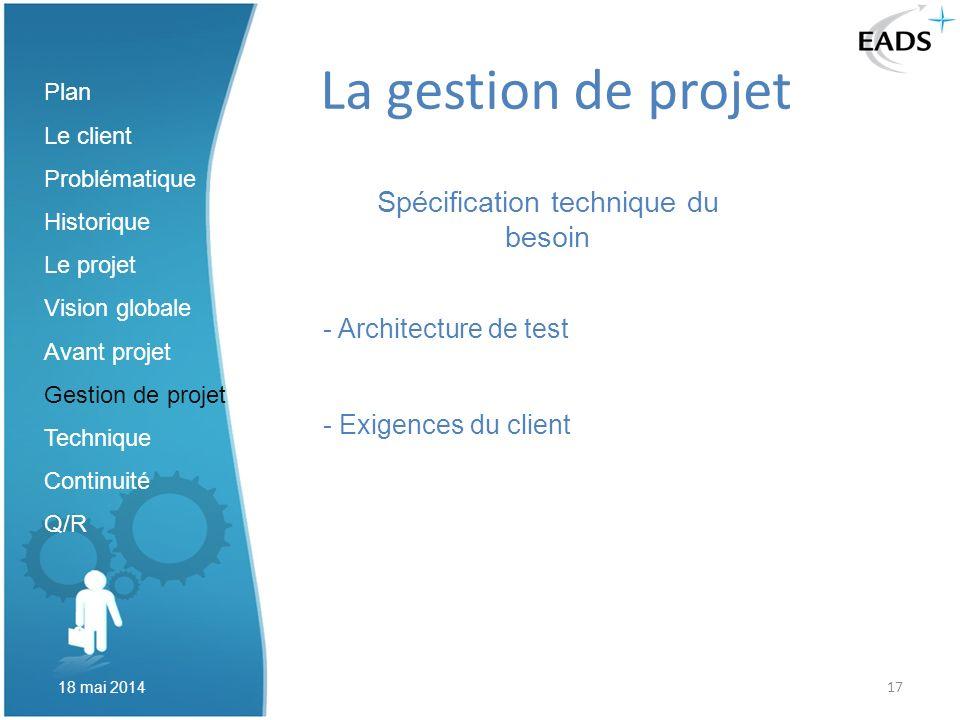 17 La gestion de projet Spécification technique du besoin - Architecture de test - Exigences du client Plan Le client Problématique Historique Le proj