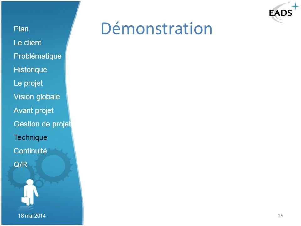 25 Démonstration Plan Le client Problématique Historique Le projet Vision globale Avant projet Gestion de projet Technique Continuité Q/R 18 mai 2014