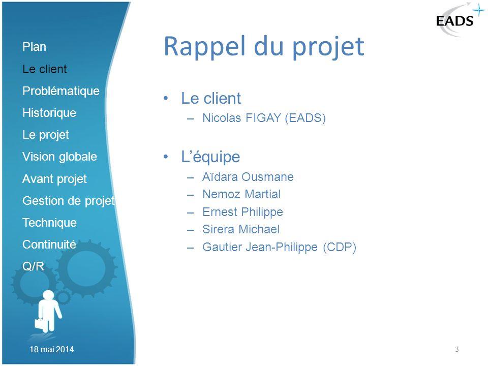 3 Rappel du projet Le client –Nicolas FIGAY (EADS) Léquipe –Aïdara Ousmane –Nemoz Martial –Ernest Philippe –Sirera Michael –Gautier Jean-Philippe (CDP
