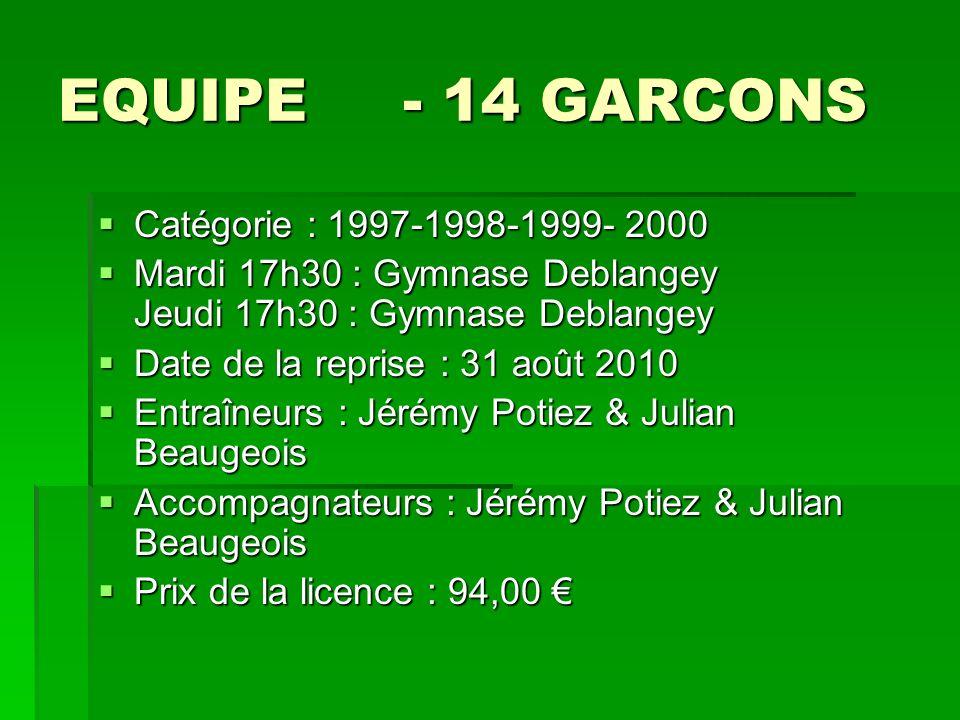 EQUIPE - 14 GARCONS Catégorie : 1997-1998-1999- 2000 Catégorie : 1997-1998-1999- 2000 Mardi 17h30 : Gymnase Deblangey Jeudi 17h30 : Gymnase Deblangey