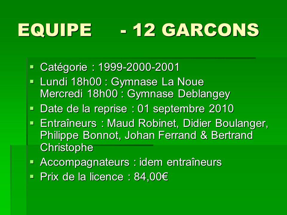 EQUIPE - 12 GARCONS Catégorie : 1999-2000-2001 Catégorie : 1999-2000-2001 Lundi 18h00 : Gymnase La Noue Mercredi 18h00 : Gymnase Deblangey Lundi 18h00