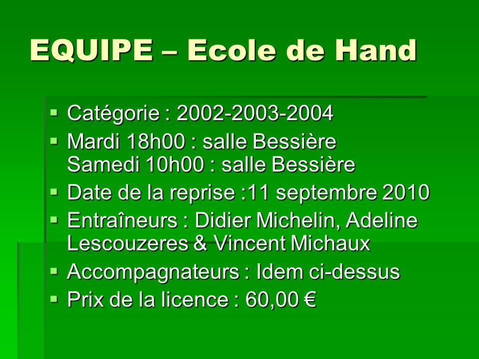 EQUIPE – Ecole de Hand Catégorie : 2002-2003-2004 Catégorie : 2002-2003-2004 Mardi 18h00 : salle Bessière Samedi 10h00 : salle Bessière Mardi 18h00 :